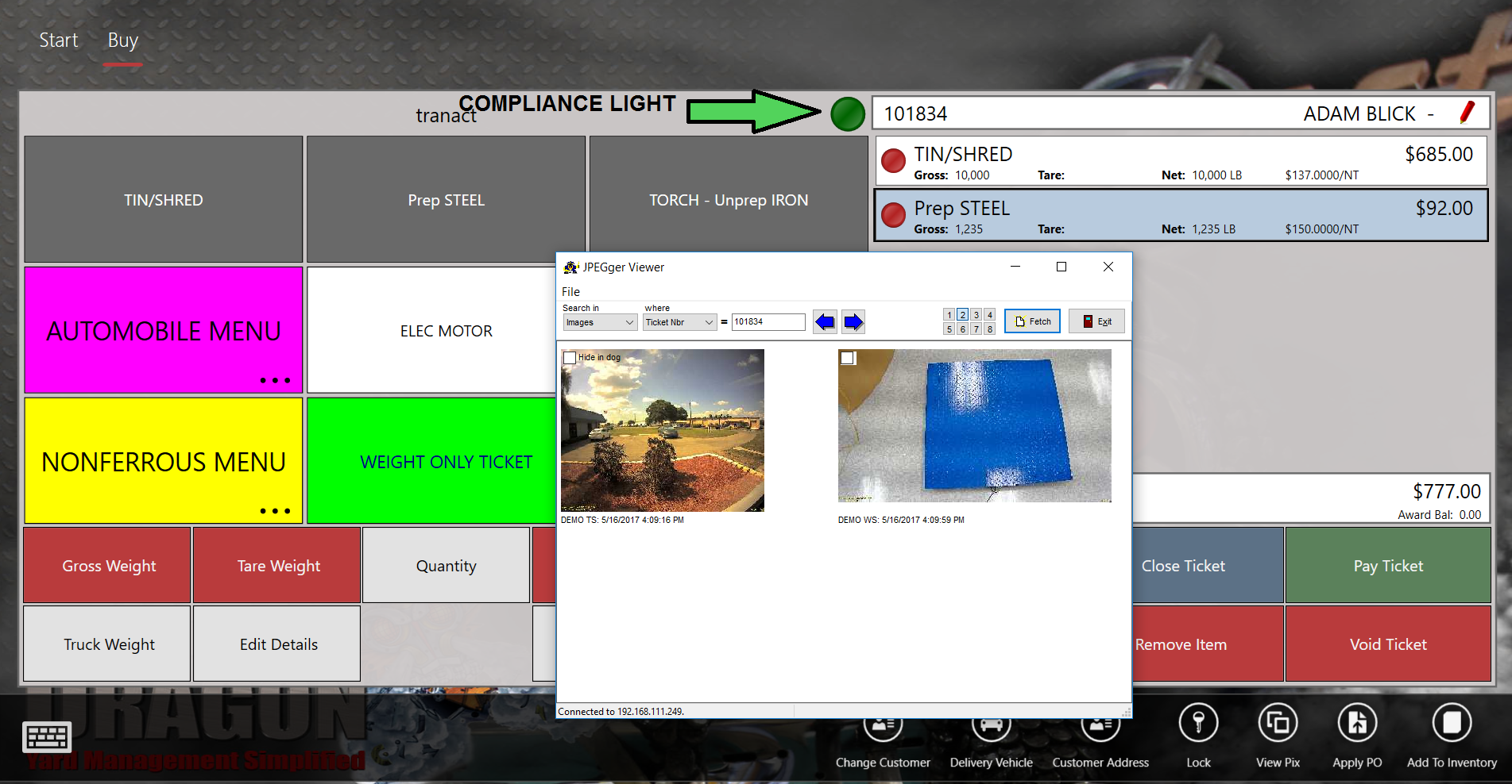 Scrap Dragon Buy Menu Compliance Light and JPEGger Image Viewer